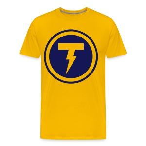 Thunderbolt Comedy Men's Premium T-Shirt (Gold and Navy) - Men's Premium T-Shirt