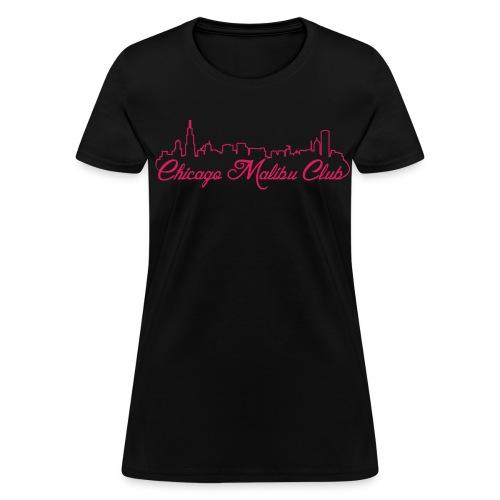 Women's Black T-Shirt with Pink Logo  - Women's T-Shirt