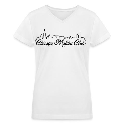 Women's White V-Neck with Black Logo  - Women's V-Neck T-Shirt