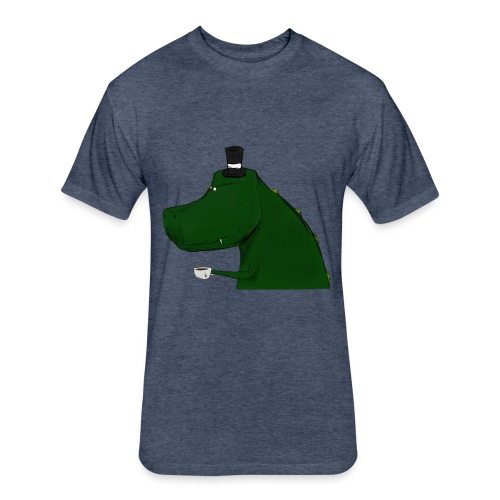 Top Hat T-Rex Blue Shirt - Fitted Cotton/Poly T-Shirt by Next Level