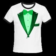 T-Shirts ~ Men's Ringer T-Shirt ~ St. Paddys Green Tuxedo Tux