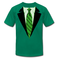 T-Shirts ~ Men's T-Shirt by American Apparel ~ Green Coat and Tie with Striped Suit and tie.