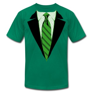 Green Coat and Tie with Striped Suit and tie. - Men's Fine Jersey T-Shirt