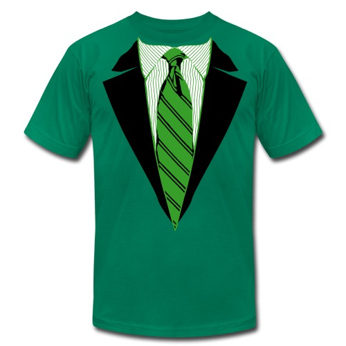 Green Coat and Tie with Striped Suit and tie. - Men's T-Shirt by American Apparel