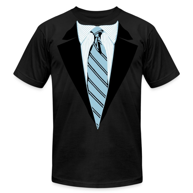 Black Coat and Tie with Striped Suit and tie. - Men's T-Shirt by American Apparel