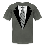 T-Shirts ~ Men's T-Shirt by American Apparel ~ Black Coat and Tie with Striped Suit and tie.