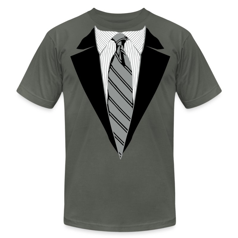 Black Coat and Tie with Striped Suit and tie. - Men's Fine Jersey T-Shirt