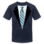 T-Shirts ~ Men's T-Shirt by American Apparel ~ Coat and Tie with Striped Suit and tie.
