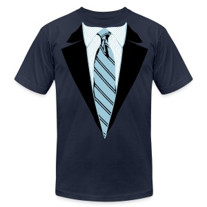 Coat and Tie with Striped Suit and tie. - Men's T-Shirt by American Apparel