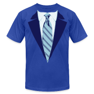 T-Shirts ~ Men's T-Shirt by American Apparel ~ Blue Coat and Tie with Striped Suit and tie.