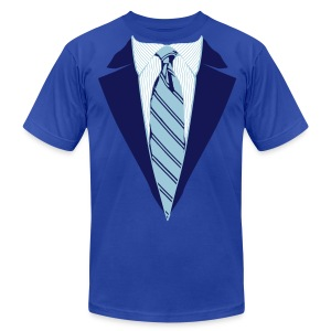 Blue Coat and Tie with Striped Suit and tie. - Men's T-Shirt by American Apparel