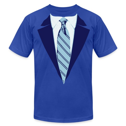 Blue Coat and Tie with Striped Suit and tie. - Men's  Jersey T-Shirt