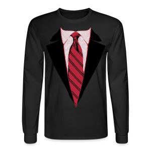 Coat and Tie with Striped Suit and tie. - Men's Long Sleeve T-Shirt