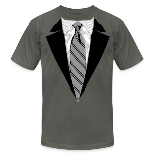 Coat and Tie with Striped Suit and tie. - Men's  Jersey T-Shirt