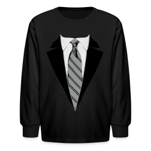 Coat and Tie with Striped Suit and tie. - Kids' Long Sleeve T-Shirt