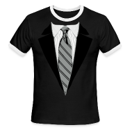 T-Shirts ~ Men's Ringer T-Shirt ~ Coat and Tie with Striped Suit and tie.