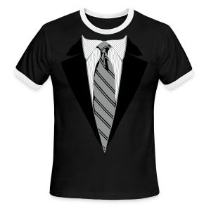 Coat and Tie with Striped Suit and tie. - Men's Ringer T-Shirt