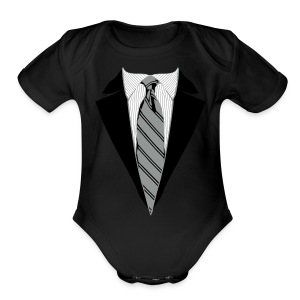 Coat and Tie with Striped Suit and tie. - Short Sleeve Baby Bodysuit