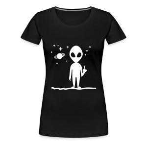 Alien Middle Finger Tee - Women's Premium T-Shirt