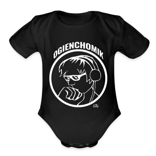 OgienChomik Baby T-Shirt - White Design - Organic Short Sleeve Baby Bodysuit