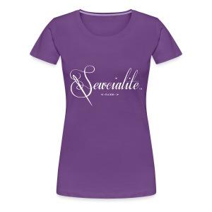 Sewcialite Whiteprint Fitted Tee - Women's Premium T-Shirt