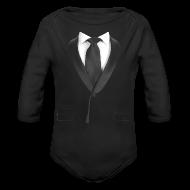 Baby Bodysuits ~ Baby Long Sleeve One Piece ~ Black Tie Baby    - Formal Wedding Shirt