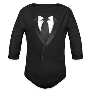 Black Tie Baby    - Formal Wedding Shirt - Long Sleeve Baby Bodysuit