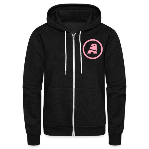 Uni-Sex Zip-Up Hoodie (Pink Logo) - Unisex Fleece Zip Hoodie by American Apparel