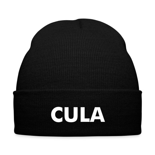 Black Cula Knit Cap (Enlarged Letters) - Knit Cap with Cuff Print