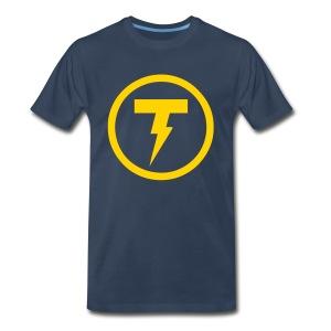 Thunderbolt Comedy Men's Premium T-Shirt (Navy and Gold) - Men's Premium T-Shirt