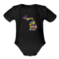 Baby Bodysuits ~ Baby Short Sleeve One Piece ~ Michigan Autism Awareness
