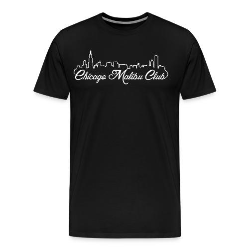 Men's Big and Tall Black T-shirt with White Logo - Men's Premium T-Shirt
