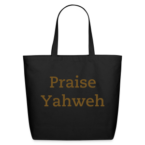 Praise Yahweh Tote Bag in GOLD GLITTER - Eco-Friendly Cotton Tote