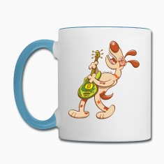 Rocker Dog Playing Electric Guitar and Singing Mugs & Drinkware