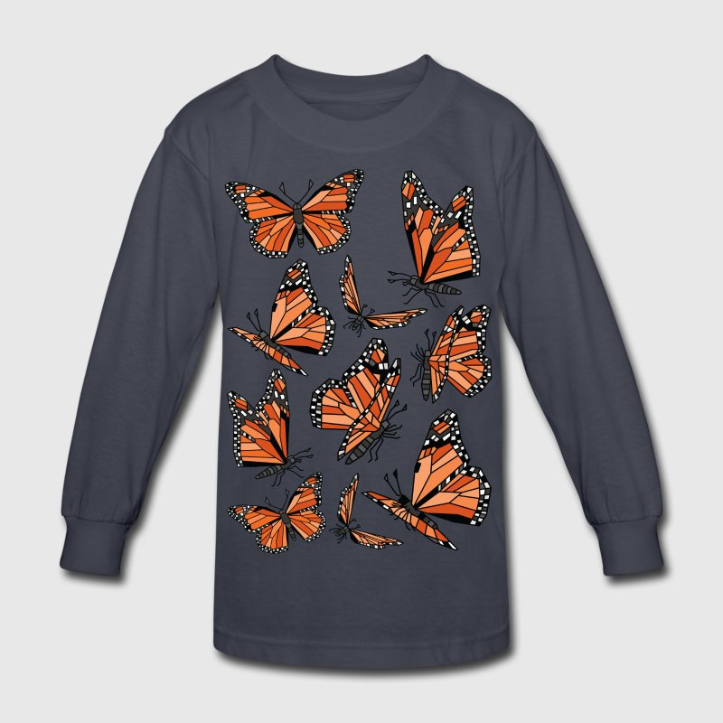 Geometric Monarch Butterfly  Kids' Shirts - Kids' Long Sleeve T-Shirt