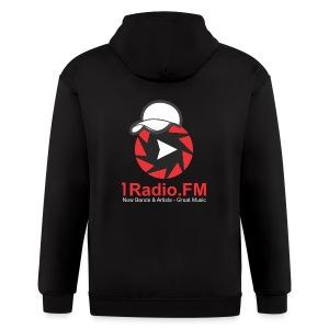 1Radio.FM Black Zip Hoodie - Men's Zip Hoodie