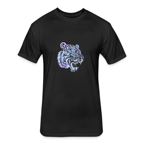 Watercolor Tiger Head Men's Tee - Fitted Cotton/Poly T-Shirt by Next Level