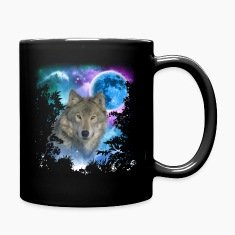Grey Wolf MidNight Forest Mugs & Drinkware
