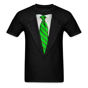 Realistic Suit and Green Tie - Men's T-Shirt
