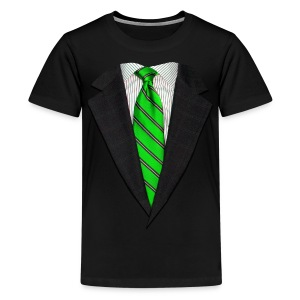 Realistic Suit and Green Tie - Kids' Premium T-Shirt