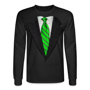 Realistic Suit and Green Tie - Men's Long Sleeve T-Shirt