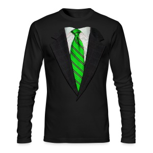 Realistic Suit and Green Tie - Men's Long Sleeve T-Shirt by Next Level