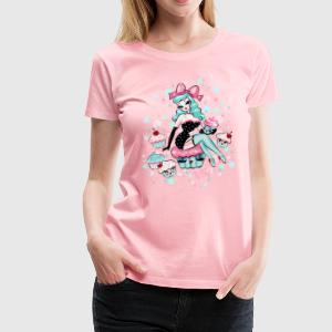 Cupcake Pinup Doll with Mint Hair Women's T-Shirts - Women's Premium T-Shirt