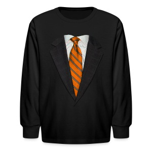 Orange Suit and Sport's Tie - Kids' Long Sleeve T-Shirt