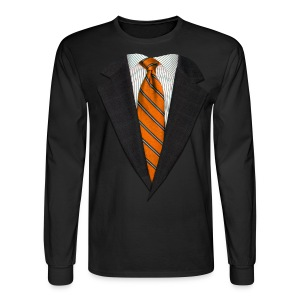 Orange Suit and Sport's Tie - Men's Long Sleeve T-Shirt