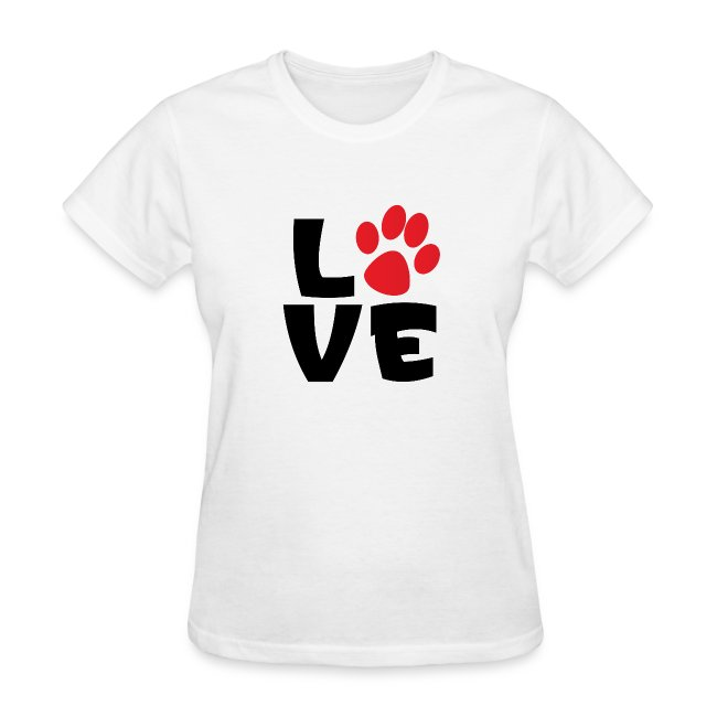 Stacys View Shop Love Paw Print Womens T Shirt