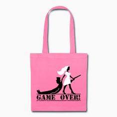 game over bride and groom Bags & backpacks