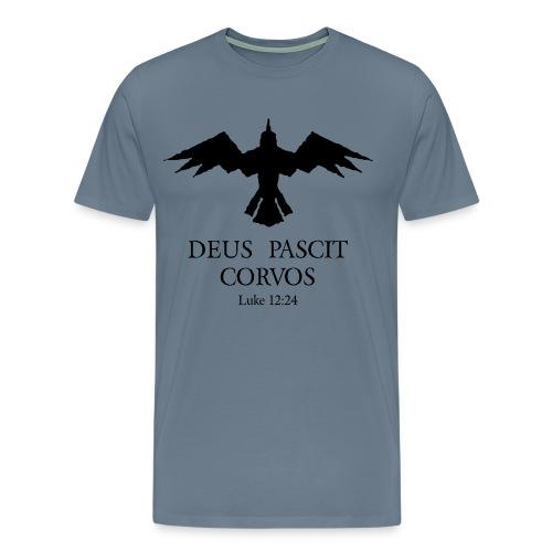 Deus Pascit Corvos - Luke 12:24 (Blue) - Men's Premium T-Shirt