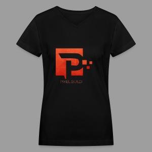 PixelBuild T-Shirt In Red - Women's V-Neck T-Shirt