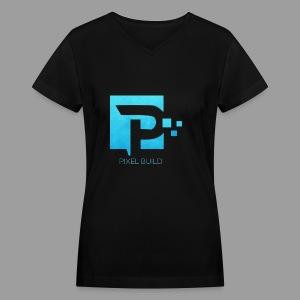 PixelBuild T-Shirt In Blue - Women's V-Neck T-Shirt